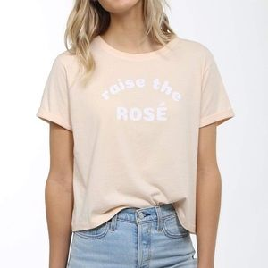NWT Brunette The Label- Raise The Rose Crop Tee